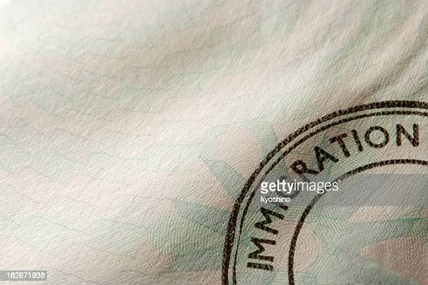 close-up of blank immigration stamp with copy space - emigration and immigration stock pictures, royalty-free photos & images