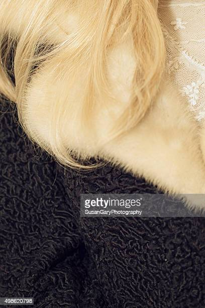 Closeup of Blond in Mink and Persian Lamb Coat