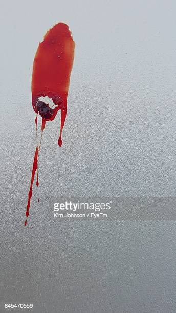close-up of blood stain on wall - blood splatter stock photos and pictures