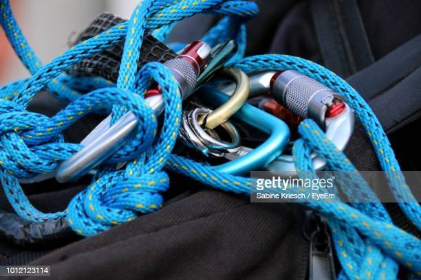 Close-Up Of Blue Climbing Rope On Bag