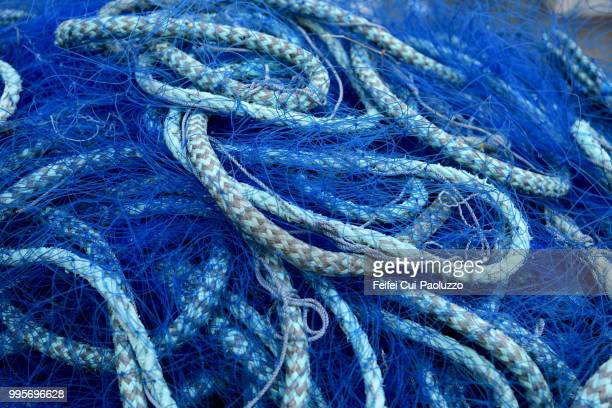 Close-up of blue fishing net at Vardø, Northern Norway