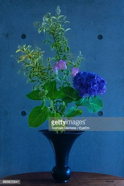 Close-Up Of Blue Flowers In Vase