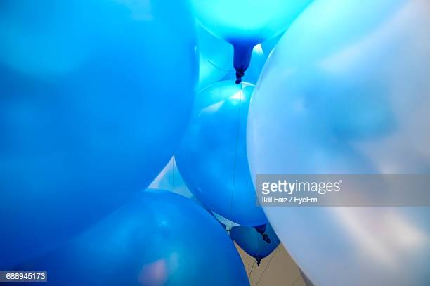 Close-Up Of Blue Helium Balloons