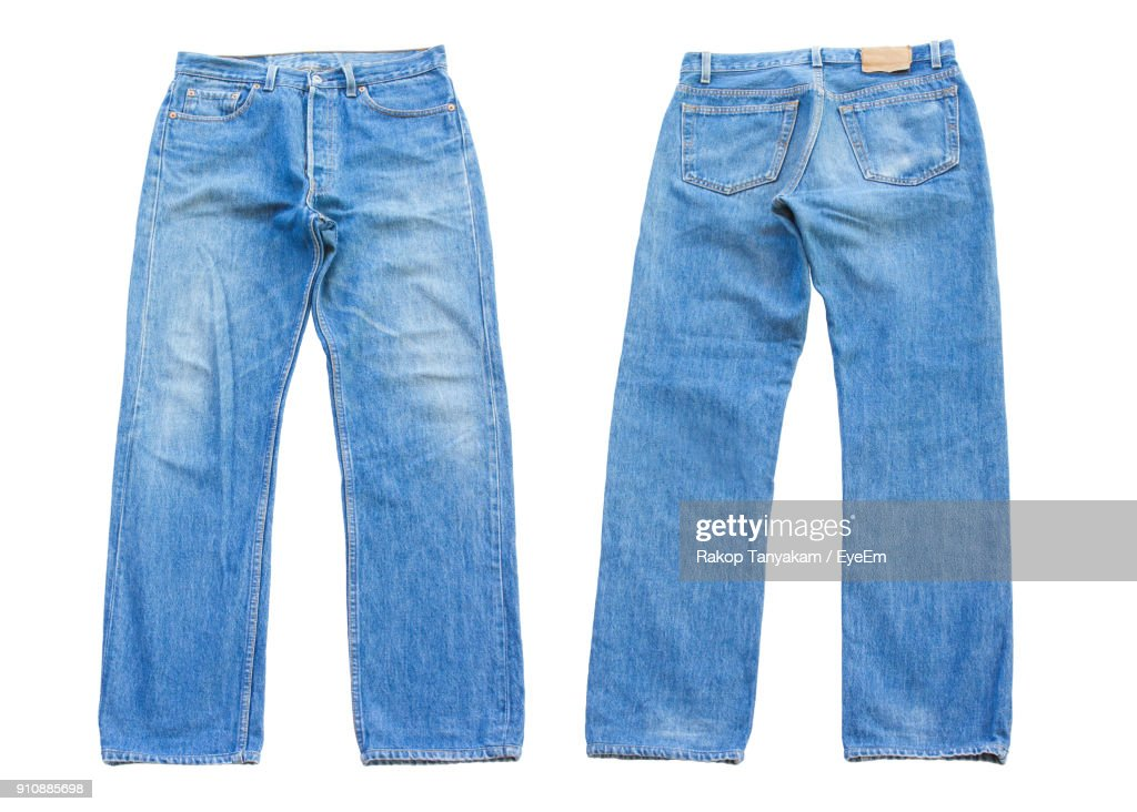 Close-Up Of Blue Jeans Over White Background : Stock Photo