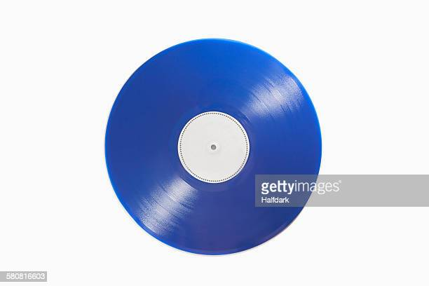 close-up of blue record on white background - objet bleu photos et images de collection