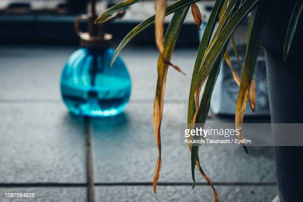 close-up of blue spray bottle and decoration hanging on floor - koukichi stock pictures, royalty-free photos & images