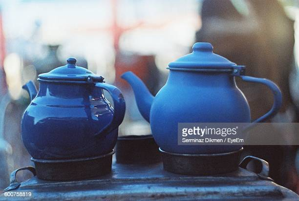 Close-Up Of Blue Teapots