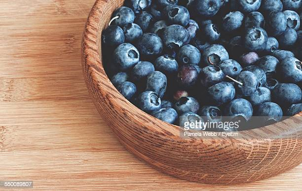 Close-Up Of Blueberries In Bowl On Table