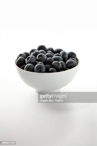 Close-Up Of Blueberries In White Bowl