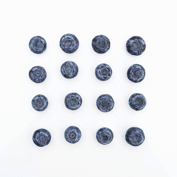 close-up of blueberries on white background - 藍莓 個照片及圖片檔