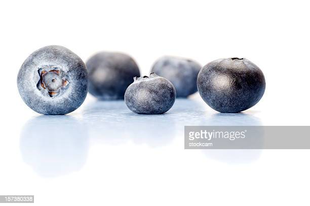 Close-up of Blueberries on white