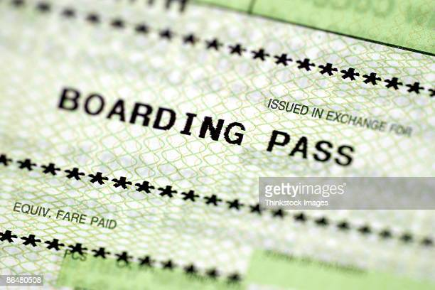Close-up of boarding pass