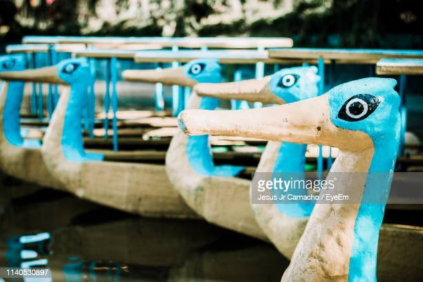 close-up of boats moored in lake - animal representation stock pictures, royalty-free photos & images