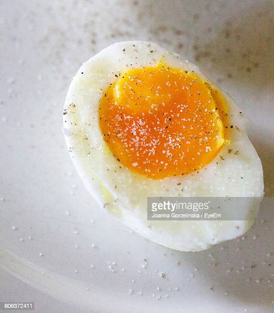 Close-Up Of Boiled Egg Slice In Plate