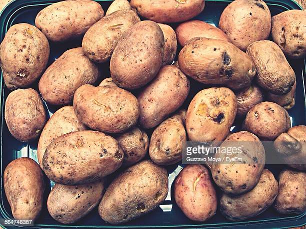 Close-Up Of Boiled Potato In Tray