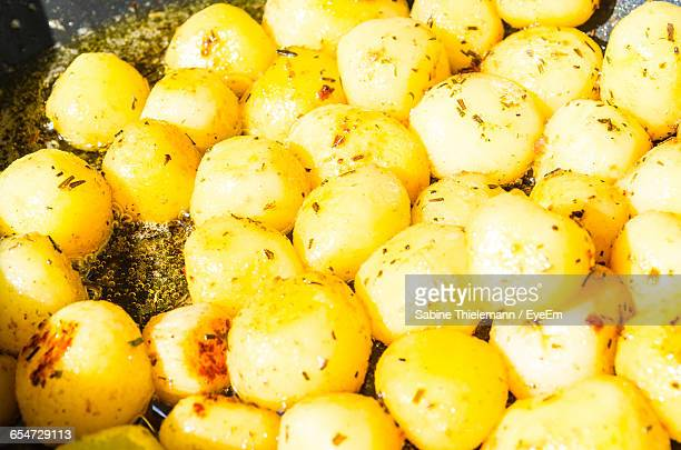 Close-Up Of Boiled Potatoes Cooking