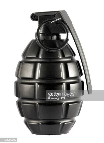 close-up of bomb against white background - armamento imagens e fotografias de stock