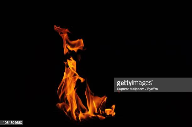 close-up of bonfire against black background - flame stock pictures, royalty-free photos & images