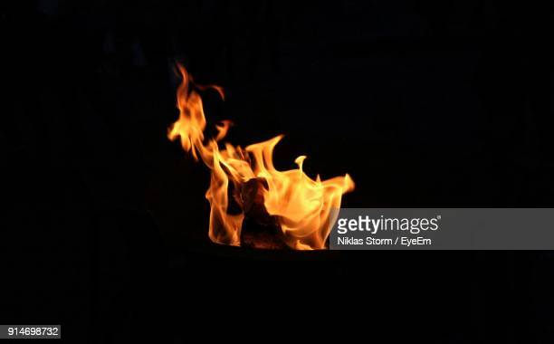close-up of bonfire against black background - fire stock photos and pictures