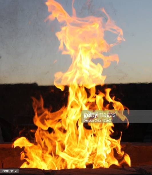 close-up of bonfire at dusk - jessica ortiz stock pictures, royalty-free photos & images