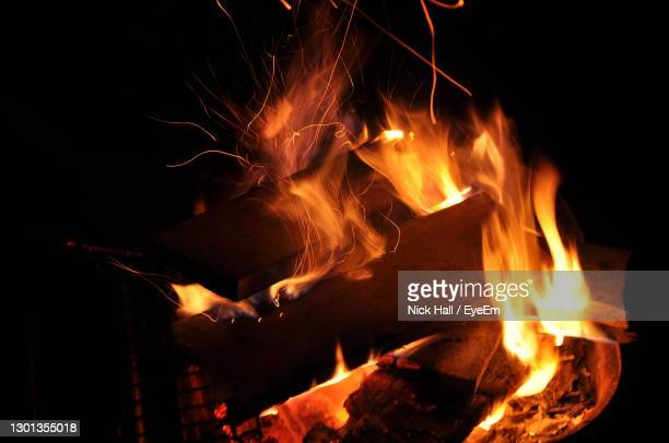 close-up of bonfire at night - ilfracombe stock pictures, royalty-free photos & images