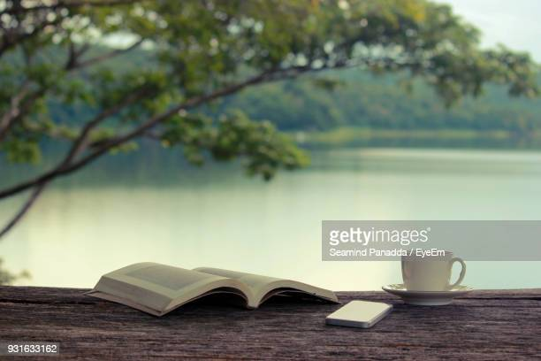 close-up of book and mobile phone by coffee cup at lake - literature stock photos and pictures