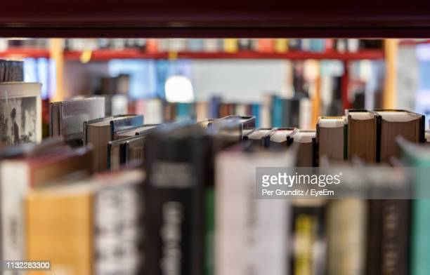 Close-Up Of Books On Shelf In Library