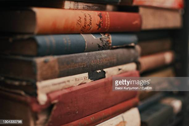 close-up of books on shelf - history stock pictures, royalty-free photos & images