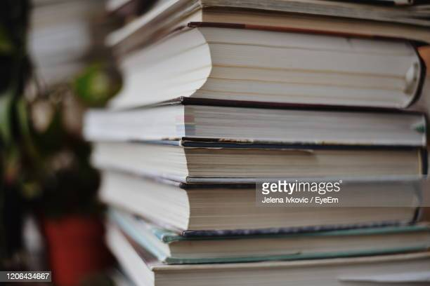 close-up of books on table - jelena ivkovic stock pictures, royalty-free photos & images