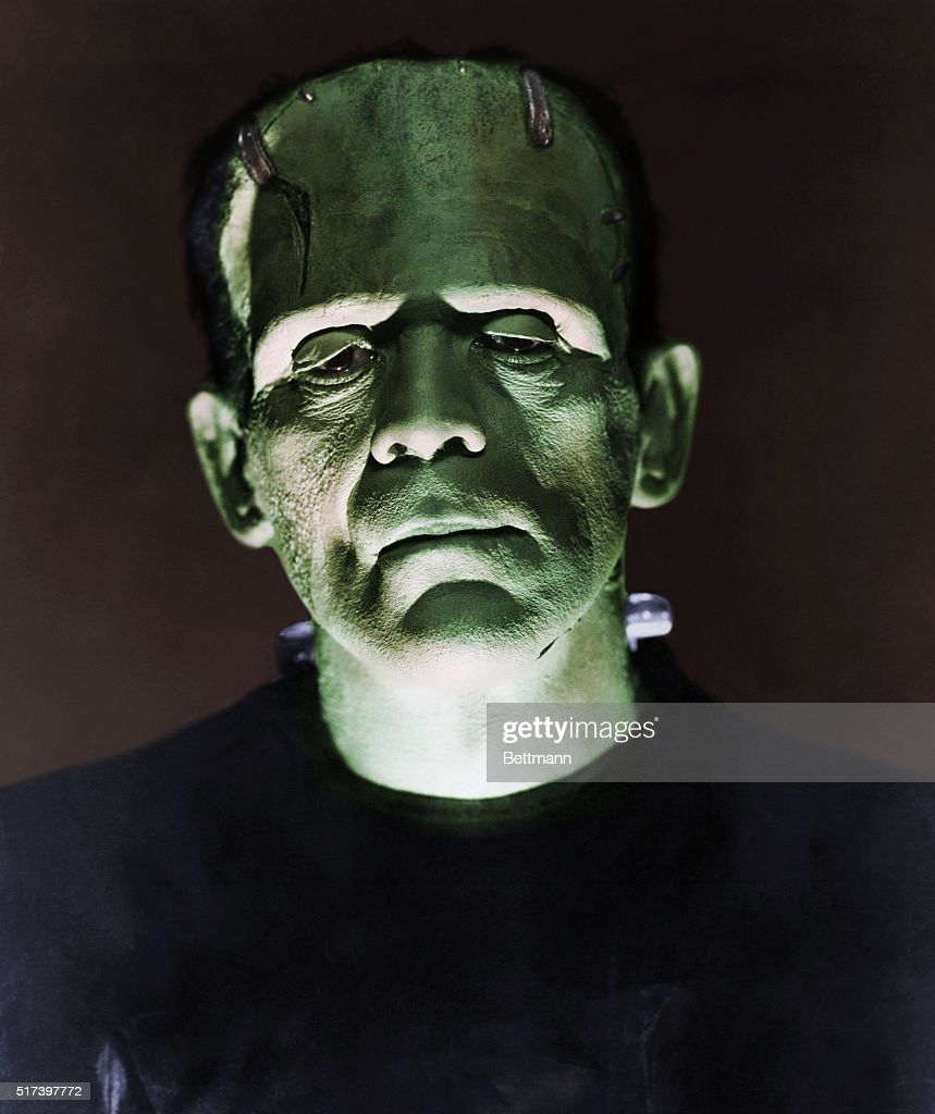Closeup of Boris Karloff as the monster in a scene from 'Frankenstein'.