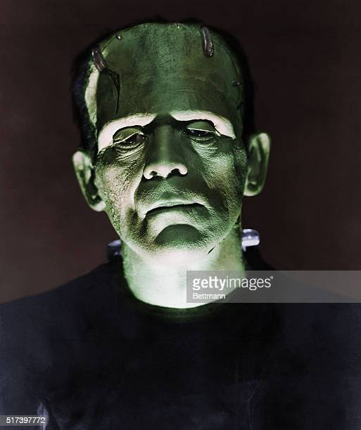 Closeup of Boris Karloff as the monster in a scene from Frankenstein