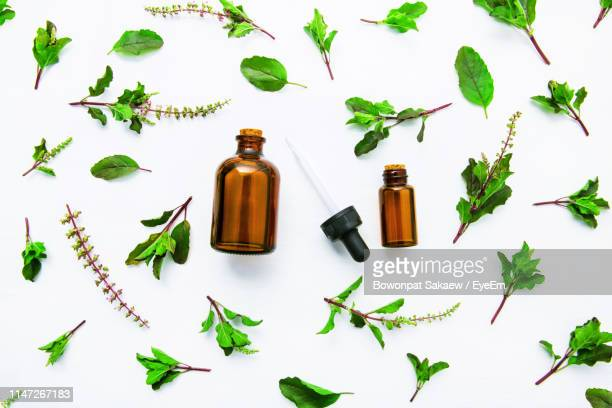 close-up of bottles and leaves over white background - aromaterapia imagens e fotografias de stock