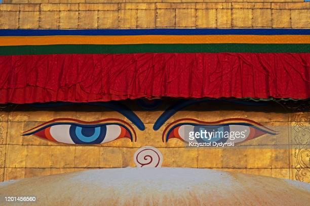 close-up of boudhanath stupa, kathmandu - 仏陀の目 ストックフォトと画像