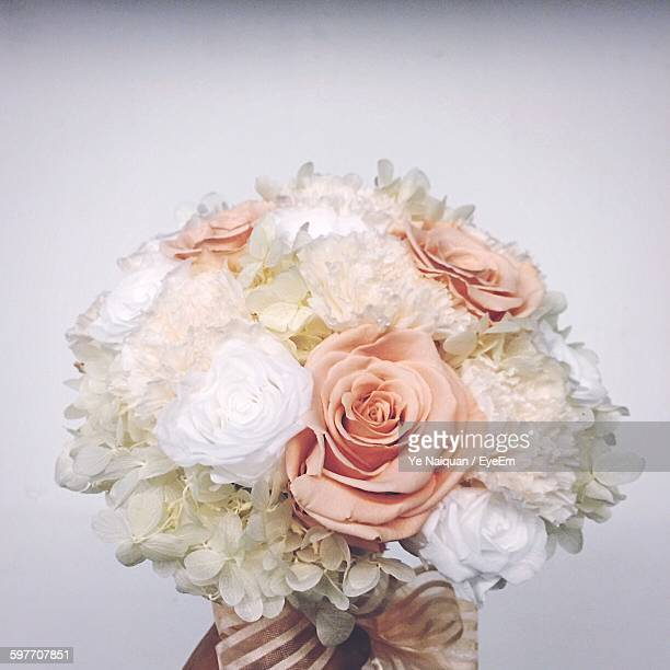 Close-Up Of Bouquet Against White Background