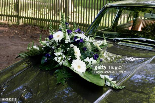 Close-Up Of Bouquet On Car Hood