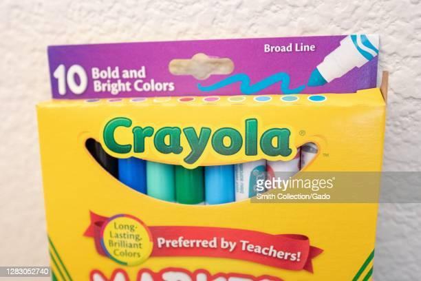 Close-up of box of Crayola brand child's markers, San Ramon, California, September 21, 2020.