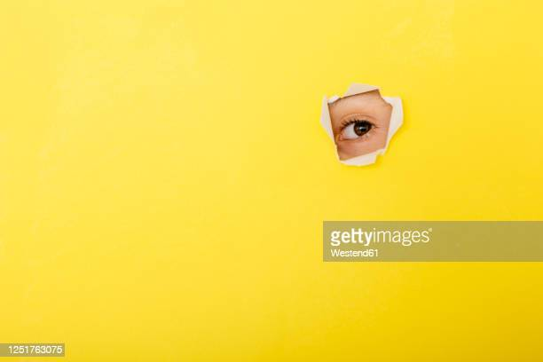 close-up of boy peeking through torn yellow paper - neugierde stock-fotos und bilder