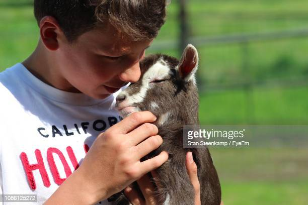 Close-Up Of Boy Playing With Kid Goat At Farm