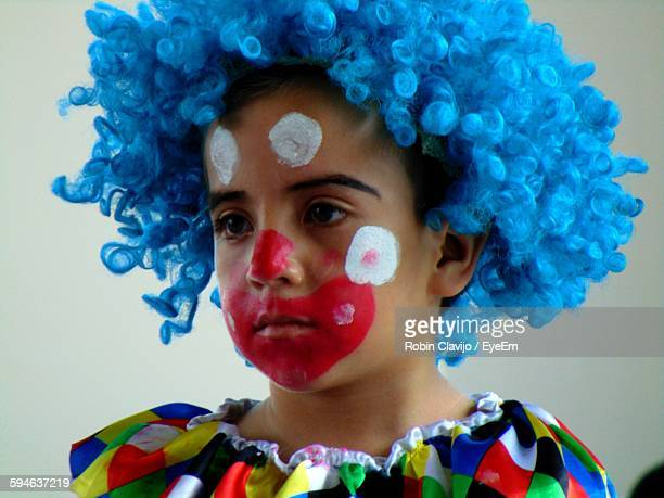 Close-Up Of Boy Wearing Clown Costume