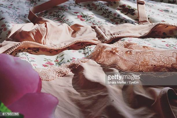 close-up of bra and pants on table - パンティー ストックフォトと画像