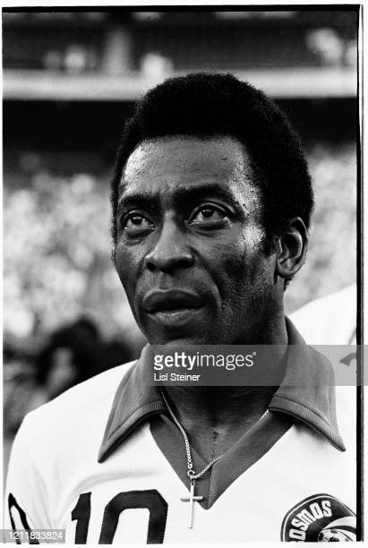 Closeup of Brazilian soccer player Pele of the Cosmos team on the field during a match at Giants Stadium East Rutherford New Jersey 1977
