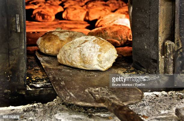 Close-Up Of Bread In Oven