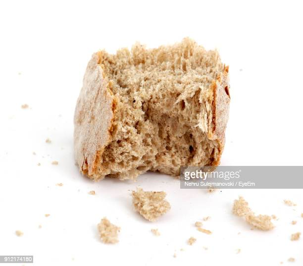 Close-Up Of Bread On White Background