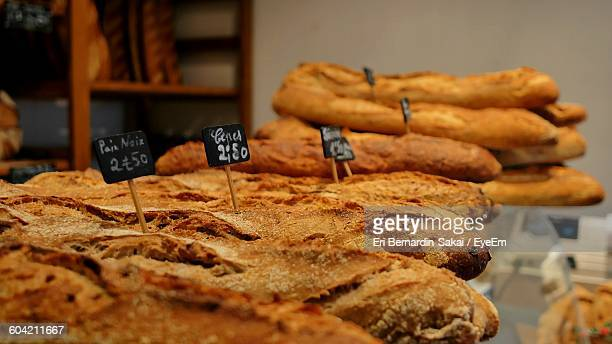 close-up of breads for sale at bakery - ペリグー ストックフォトと画像