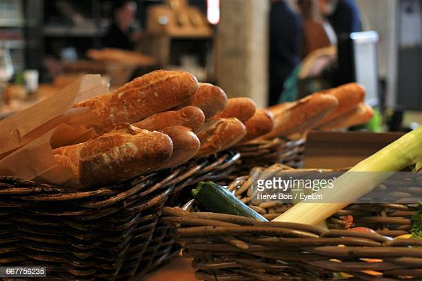 Close-Up Of Breads In Wicker Baskets