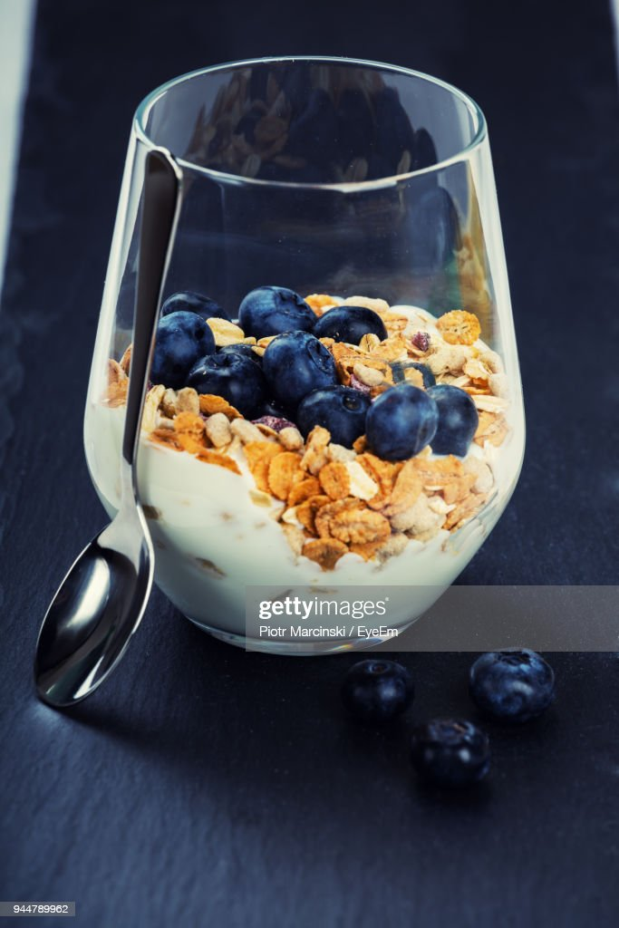 Close-Up Of Breakfast In Drinking Glass On Table : Stock Photo