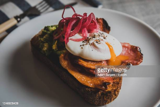 close-up of breakfast on plate on table - truro cornwall stock pictures, royalty-free photos & images