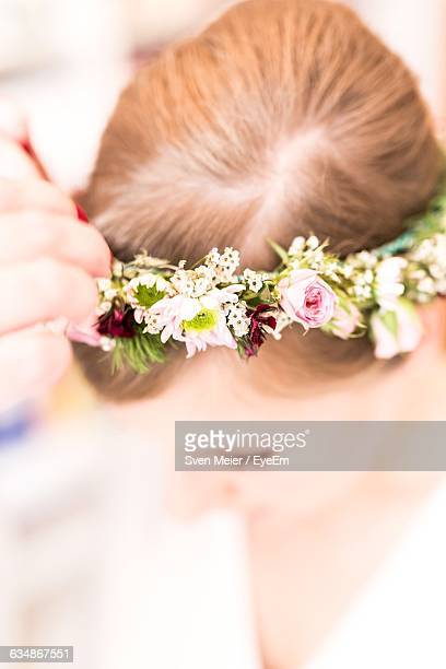 Close-Up Of Bride Wearing Floral Crown