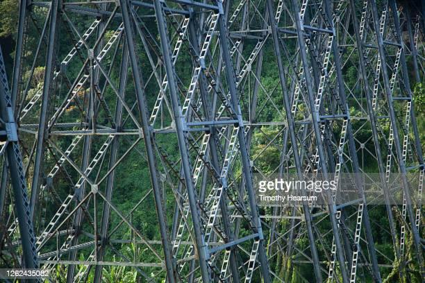 close-up of bridge stanchions in a lush canyon in hawaii - timothy hearsum imagens e fotografias de stock