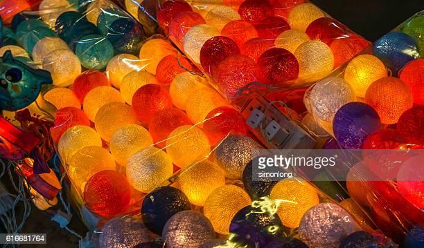 Close-up of Brightly Lit Yarn Lanterns